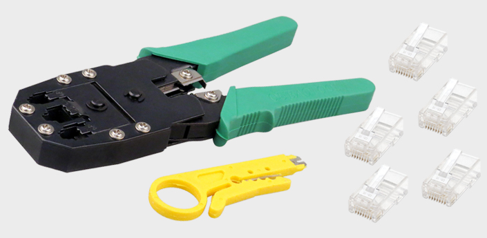 rj45 cat5e cat6 crimping plier stripper crimp cutter tool 10 free connectors ebay. Black Bedroom Furniture Sets. Home Design Ideas